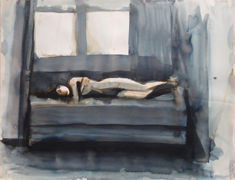 Nude lying on the Bed 2, 65x50 cm - Image 0