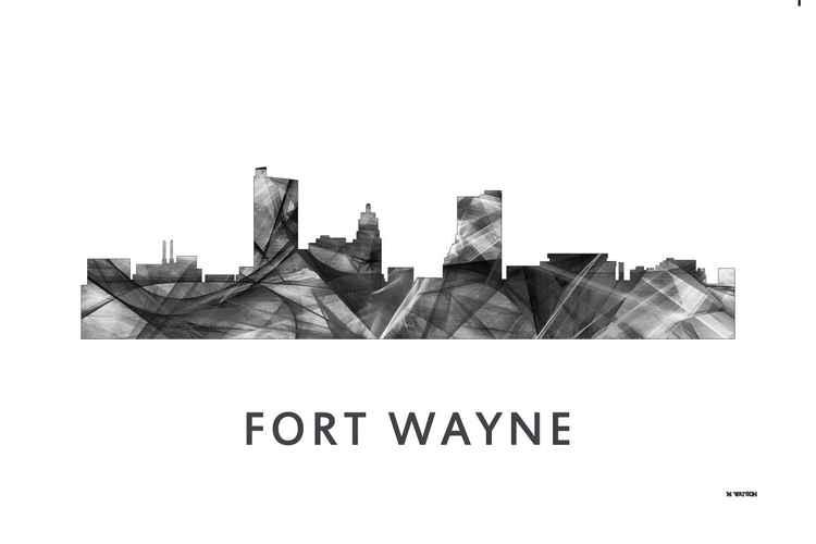 Fort Wayne Indiana Skyline WB BW -