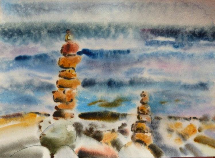 Stones, watercolor painting 42x30 cm - Image 0