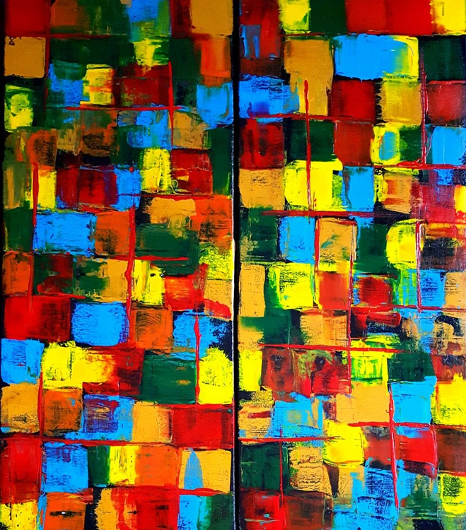 Patchwork - abstract diptych 2x30x70cm - Image 0