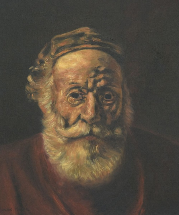 Portrait of an Old Man in Red (detail) after Rembrandt - Image 0