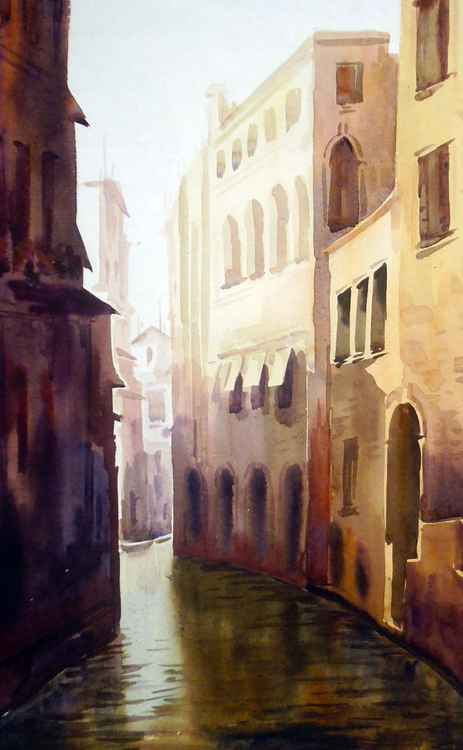 Morning Canals at Venice - Watercolor Painting