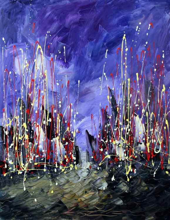 Battlefield - Abstract Acrylic Art Painting - 28x35 inch, 2015  [Discounted Sale]