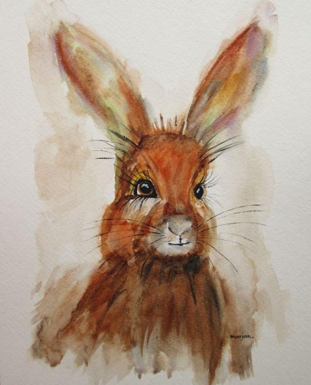"""HAPPY HARE"", bunny, rabbit, watercolour, 9x12inch - Image 0"