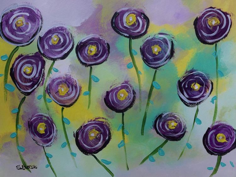 Purple Poppies Flowers in fields - Abstract Modern Art - Image 0