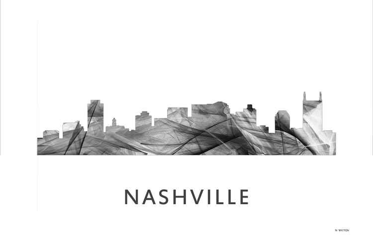 Nashville Tennessee Skyline WB BW -