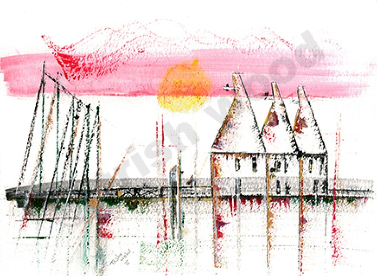 Hopping Down in Kent - Oast house.  Original water colour - Image 0