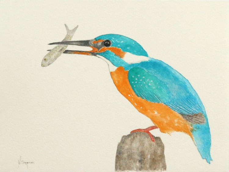 The Kingfisher with a fish - Image 0
