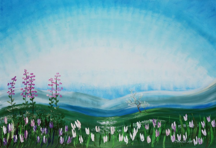 Alaska spring landscape cherry blossom tree Sakura Tulips Large painting 110x160 cm unstretched canvas art green blue sky by artist Ksavera - Image 0