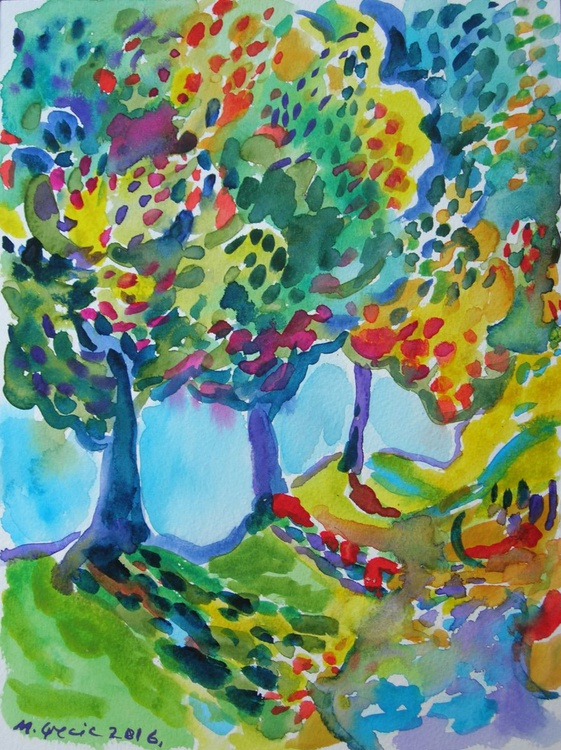Canopy of trees - watercolours - Image 0