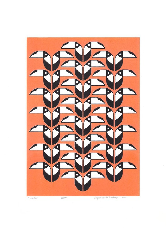 Toucans (coral) - Unframed - FREE Worldwide Delivery - Image 0