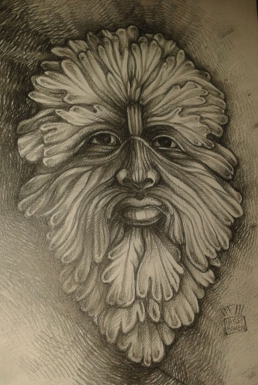 Drawing of a Foliate Head Sculpture (Green Man) - Image 0