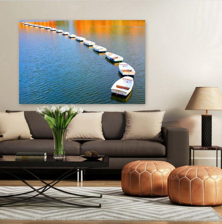 Boat photography, Seascape, Sunset, Beach Decor, Boat in Water, Nautical, Coastal, Frane Coastline, Minimalist, Transportation, Large Canvas, Huge Photo, Fine Art Print, ''Boats Dance'' - Image 0