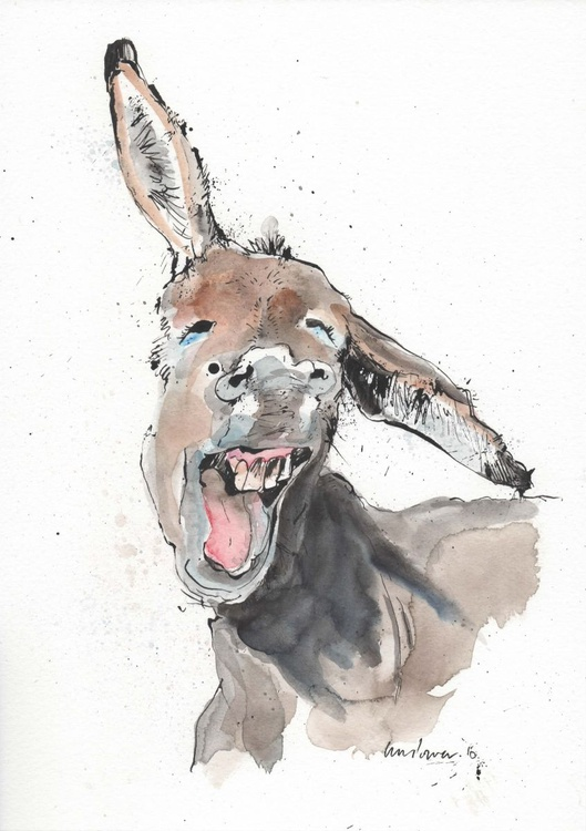 Donkey Delight! - watercolour and ink - Image 0