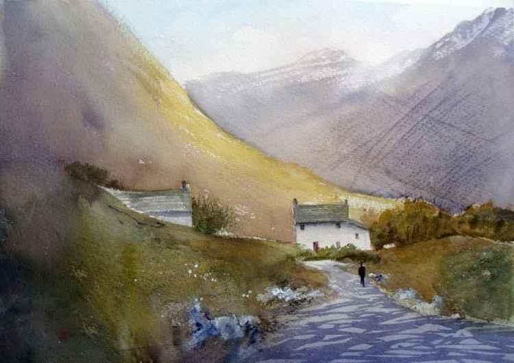 Hill Farm Cottages - Original Watercolour Painting