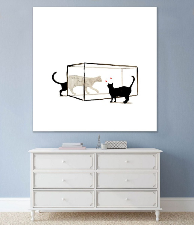 Two cats and two goldfish (100 x 100 cm) - Image 0