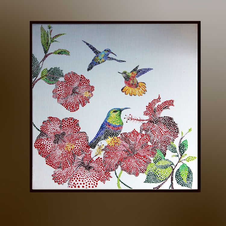 Flying hummingbirds and tropical flowers - Image 0