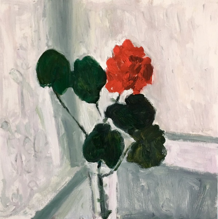 Geraniums by the Window, still life with flowers, oil painting - Image 0