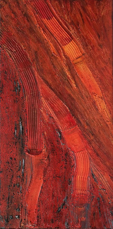 Lava Flow #15016 (40x80cm) Textural Abstract Art - Image 0