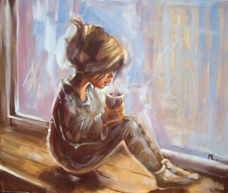 """ GIRL IN THE WINDOW "" original oil painting - Image 0"