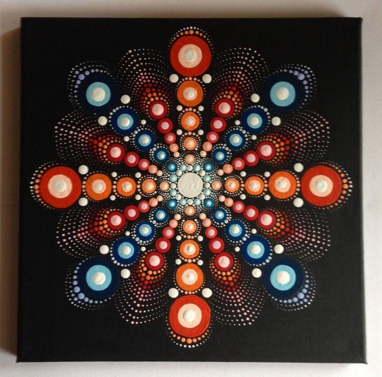 Orange Blue Dotart Mandala Painting on Canvas 30x30cm - Image 0