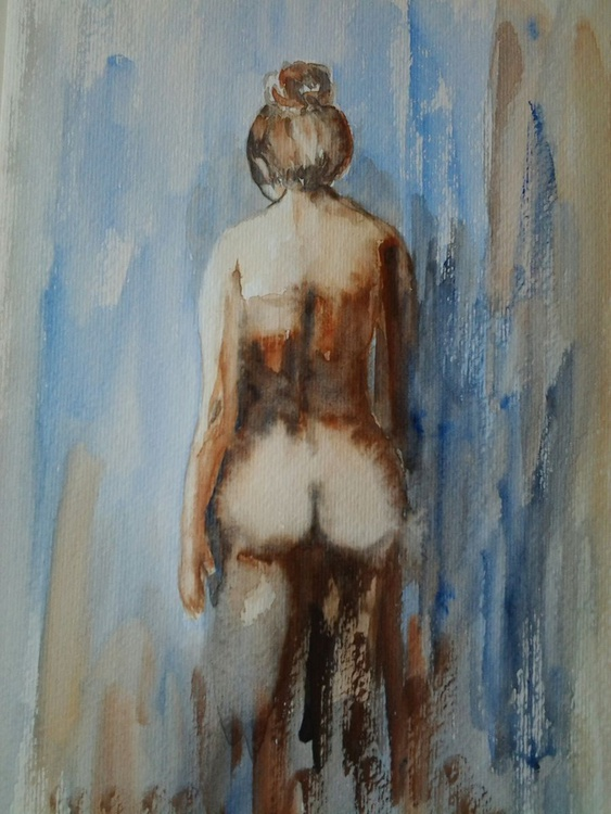 """LADY IN BLUE"" Nude watercolour - Image 0"