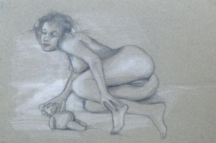 Lolita 3, pastel on grey paper 21x29 cm - Free shipping - Image 0