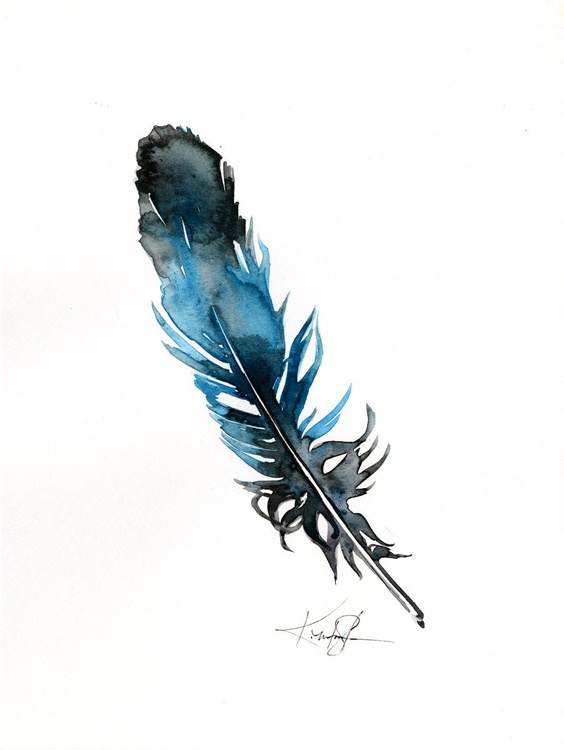 Watercolor Feather 6 - Abstract Feather Watercolor Painting - Image 0