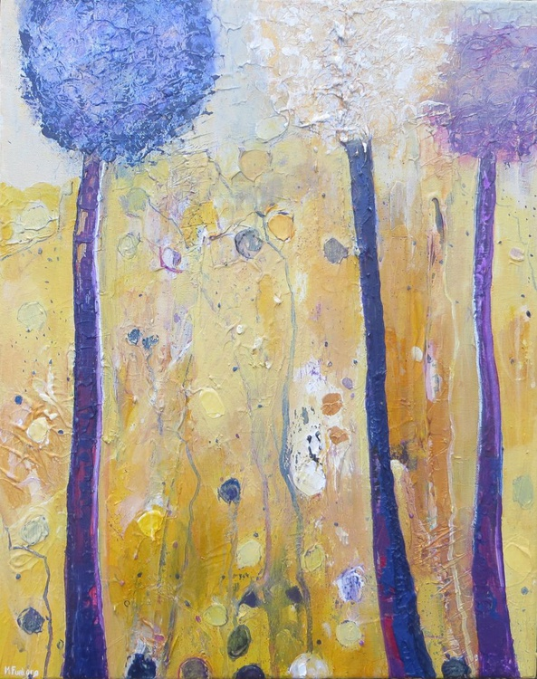 Three Trees, In Purple And Gold - Image 0