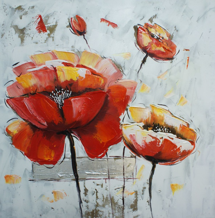 """""""Poppies """". Free shipping. Size 80 cm x 80 cm Acrylic / Canvas - Image 0"""