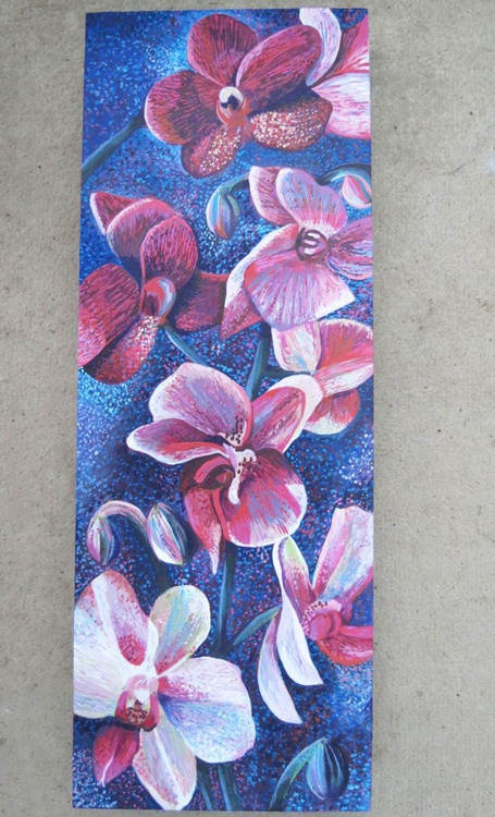 Orchids, Pink on Blue - Image 0