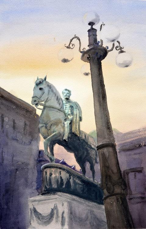 Monument to Duke - original watercolor painting by Nenad Kojić - Image 0
