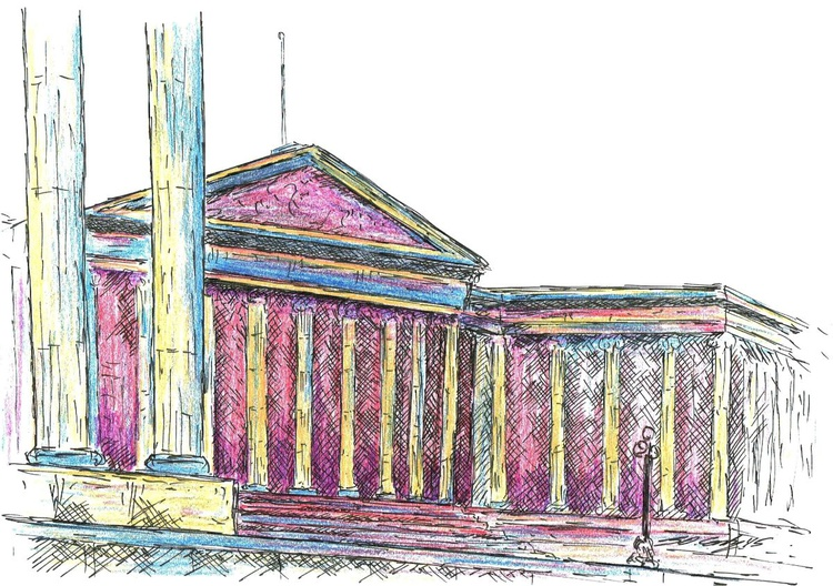British Museum, London - Ink and coloured pencil drawing FRAMED ORIGINAL - Image 0