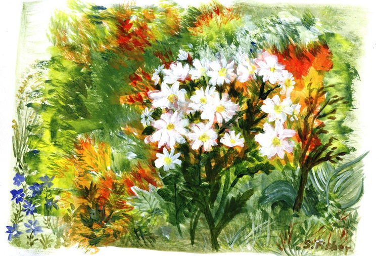 Daisies in coloured border - Image 0