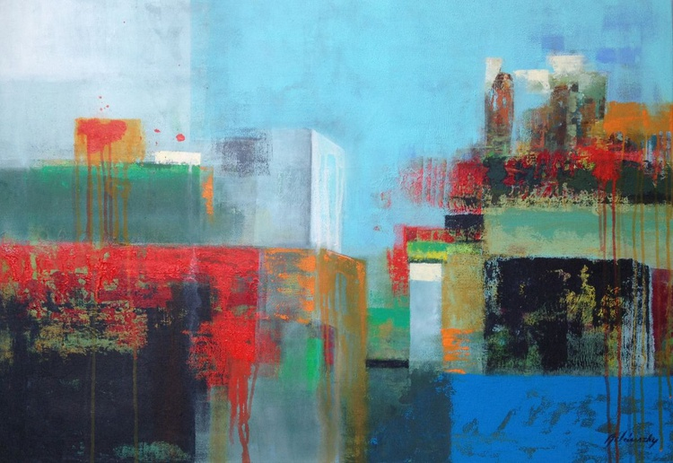 Mixing Cultures - 70 x 100 cm geometric abstract in turquoise and blue - Image 0