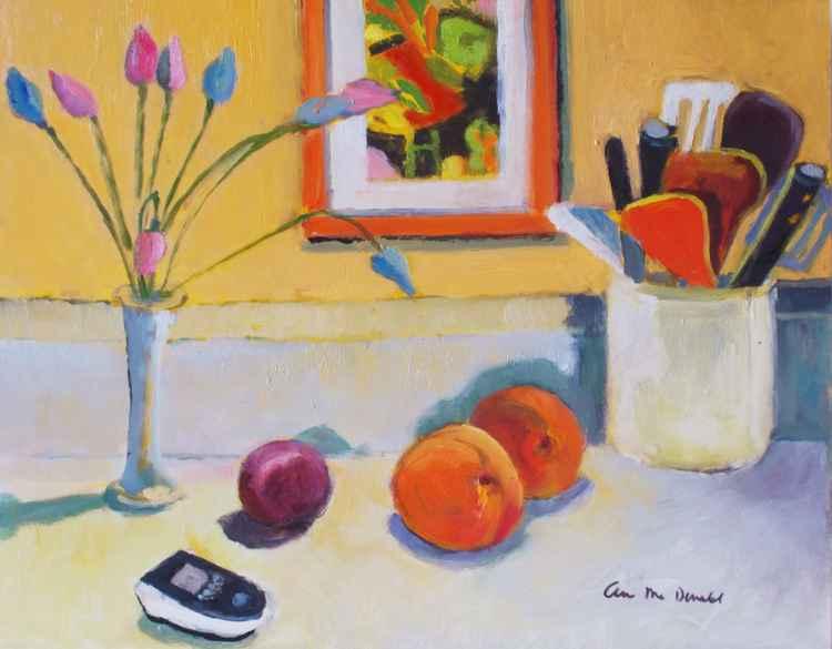 Still Life Peaches in Kitchen