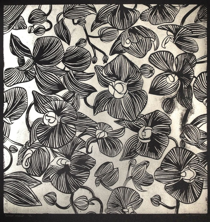 Orchid study lino print in silver - Image 0
