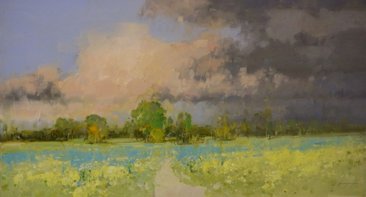 Yellow Meadow Landscape Handmade oil painting One of a kind Large Size - Image 0