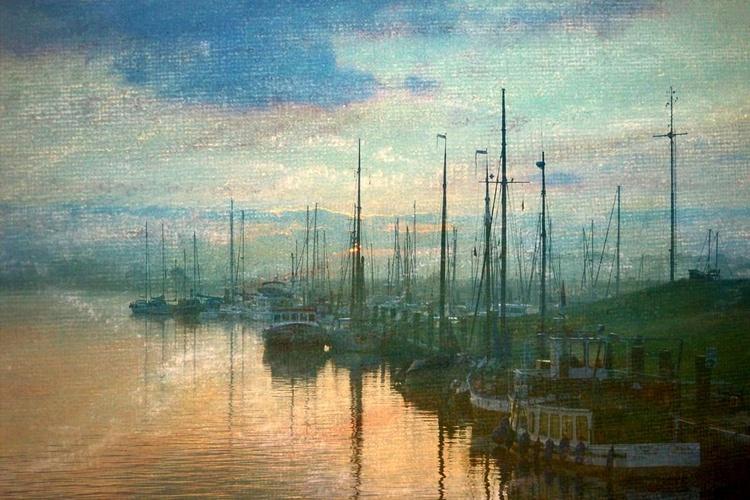 Sunrise in the Harbour - Canvas 75 x 50 cm - Image 0