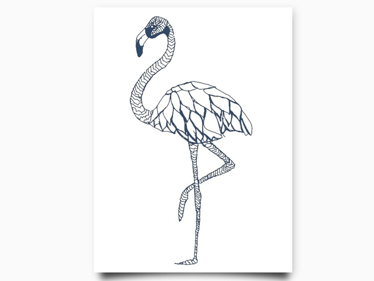 Flamingo 8 x 10 Drawing - Image 0
