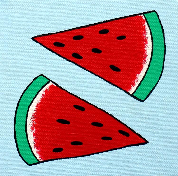Watermelon Pop Art Painting On Miniature Canvas - Image 0