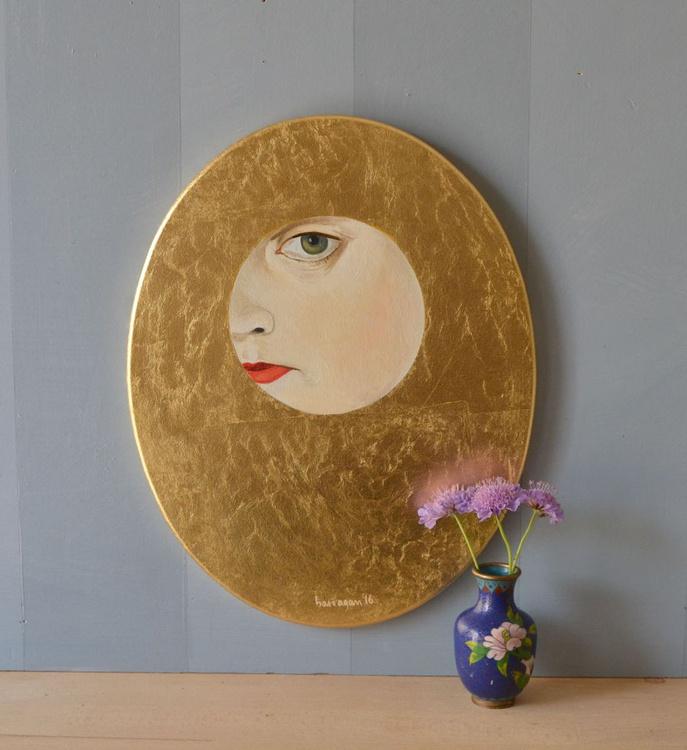 The Golden Looker n.6 Gold Leaf Female Portrait Oil Painting - Image 0