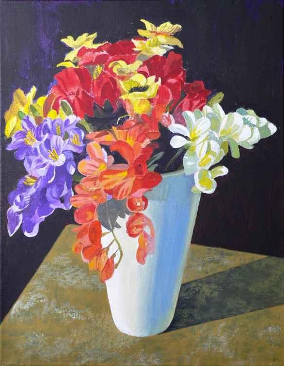 Flowers in white vase -