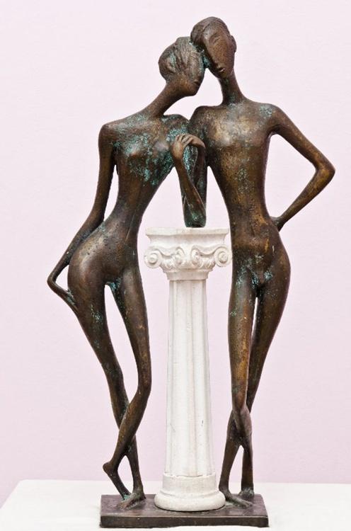"Tenderness Mixed Metals Sculpture 2002 24x14x6 in""  Sculpture : Mixed Metals. - Image 0"