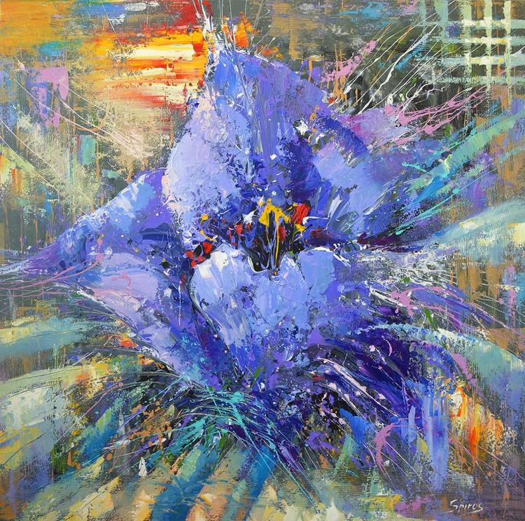"""Blue poppy - Original Oil acr. palette knife Painting, Size: 100cm x 100cm, (40""""x 40"""") - Image 0"""