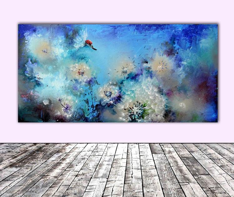 Flirt - FREE SHIPPING Large Modern Ready to Hang Acrylic Painting - Image 0
