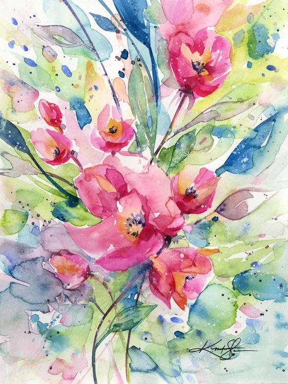 Alluring Blooms 3 - Abstract Floral Watercolor by Kathy morton Stanion - Image 0
