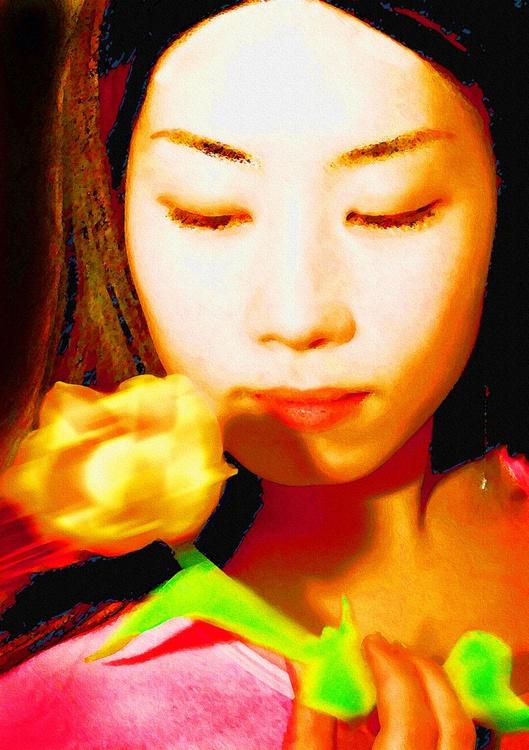 Girl With Tulip - Monoprint - Image 0