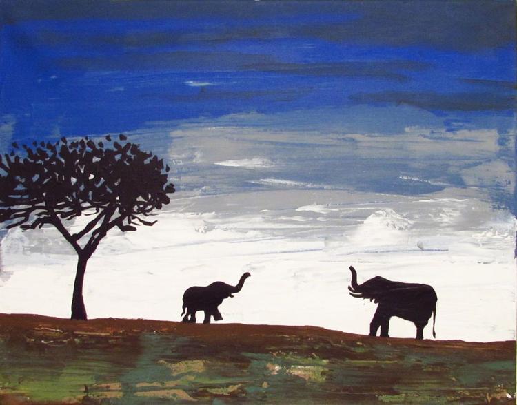 "original abstract landscape ""elephants , family reunion"" africa animal painting art canvas - 40 x 50 cm - Image 0"