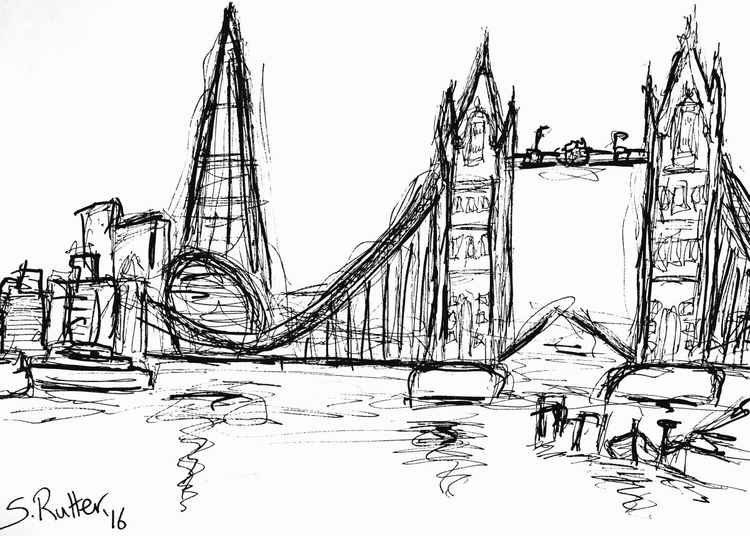Tower Bridge and Shard Sketch